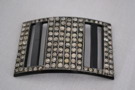 Art Deco Buckle - Celluloid and Diamante Hat Ornament - Slide Buckle - French Costume Accessory